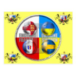 England France Sweden Ukraine Football Flag 2012 Post Cards