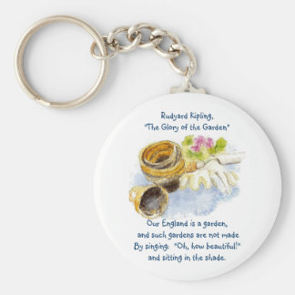 England Garden Verse with Watercolor Painting Basic Round Button Key Ring