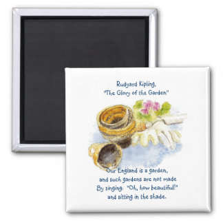 England Garden Verse with Watercolor Painting Square Magnet