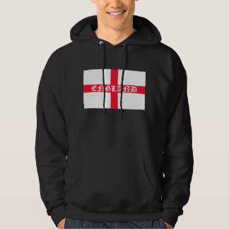 England in white text on flag hoodie