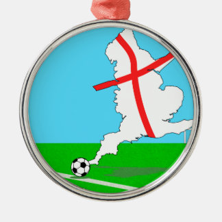 England Kicks For Goal! Fun England Merchandise Silver-Colored Round Decoration