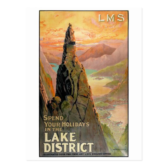 England Lake District Vintage Travel Poster Postcard