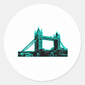 England London Bridge Cyan Black The MUSEUM Zazzle Sticker