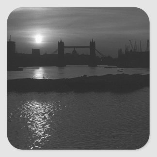 England London sunset Tower Bridge 1970 Square Sticker
