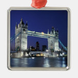 England, London, Tower Bridge 3 Silver-Colored Square Decoration