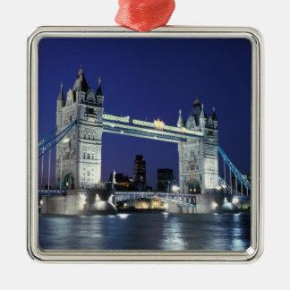 England, London, Tower Bridge 3 Silver-Colored Square Decoration