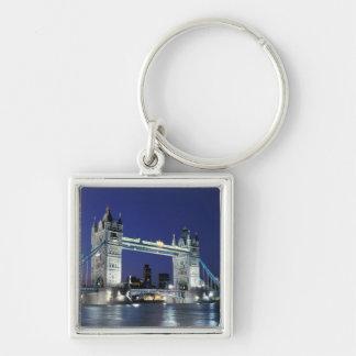 England, London, Tower Bridge 3 Silver-Colored Square Key Ring