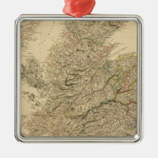 England Map Silver-Colored Square Decoration