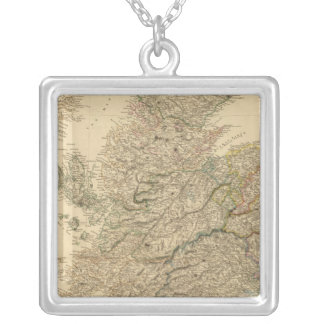 England Map Silver Plated Necklace