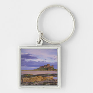 England, Northumberland, Bamburgh Castle Silver-Colored Square Key Ring