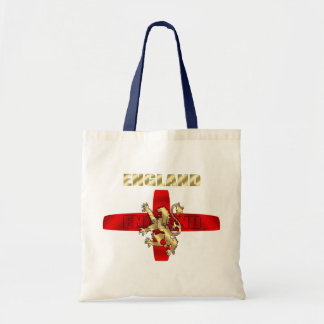 England outline logo and lion soccer gifts budget tote bag