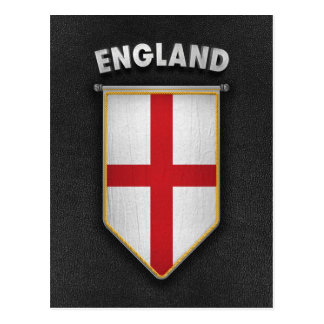 England Pennant with high quality leather look Postcard