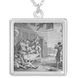 England, Plate II of 'The Invasion', 1756 Silver Plated Necklace