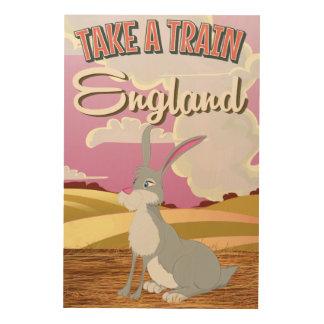 England Rabbit Cartoon Travel Poster Print Wood Prints