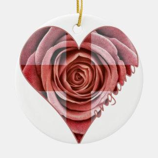 England Rose Heart Round Ceramic Decoration