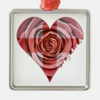 England Rose Heart Silver-Colored Square Decoration