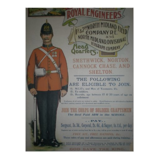 England Royal Engineers recruitment poster 1890