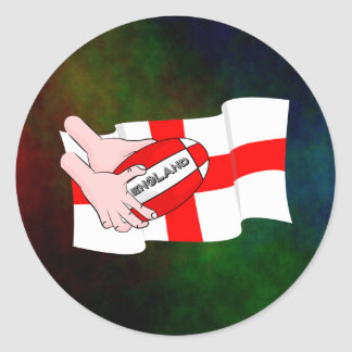 England Rugby Team Supporters Flag With Ball Round Sticker