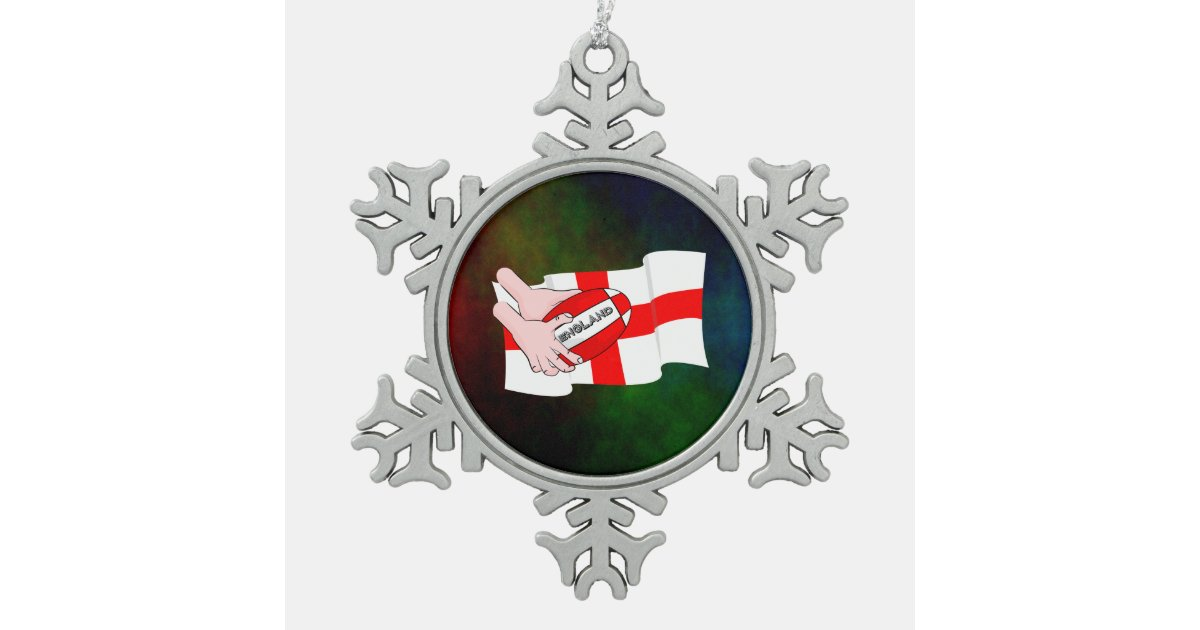 England Rugby Team Supporters Flag With Ball Snowflake ...