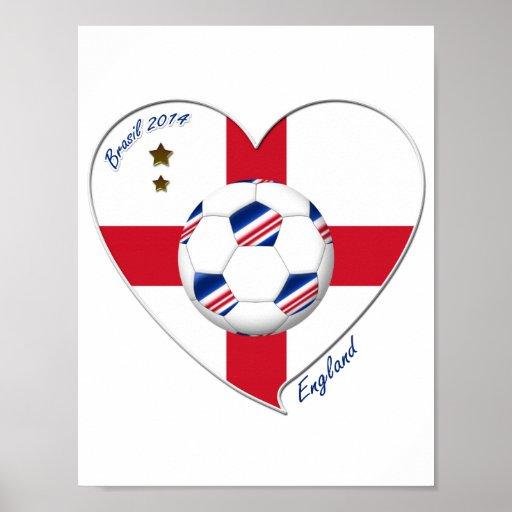 """ENGLAND"" Soccer Team. Soccer of England 2014 Poster"