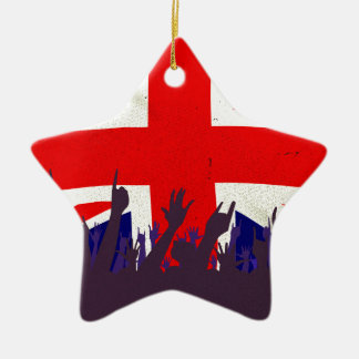England State Flag with Audience Ceramic Star Decoration