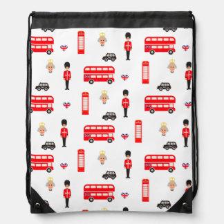 England Symbols Pattern Drawstring Bag