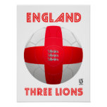 England - Three Lions Football Poster