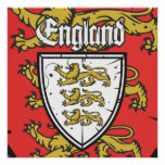 England Three Lions  Shield Poster