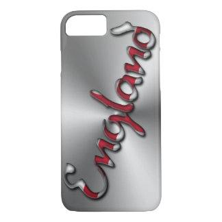 England Typography Silver Gray Red iPhone 8/7 Case