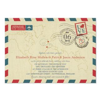 England UK / Portugal Airmail | Wedding 13 Cm X 18 Cm Invitation Card