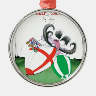 england v ireland rugby balls - from tony fernande Silver-Colored round decoration
