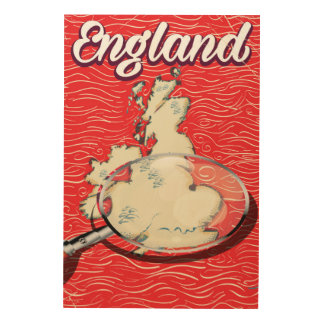 England vintage style travel poster wood prints