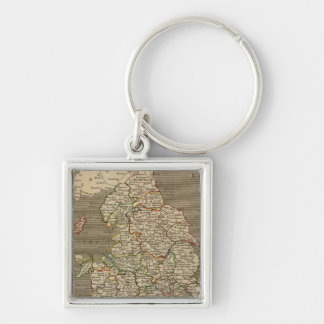 England, Wales 2 Silver-Colored Square Key Ring