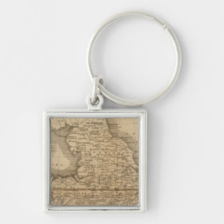 England, Wales 5 Silver-Colored Square Key Ring