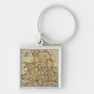 England, Wales 6 Silver-Colored Square Key Ring