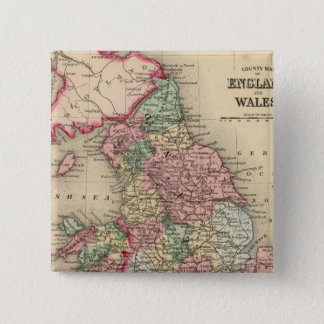 England, Wales Map by Mitchell 15 Cm Square Badge