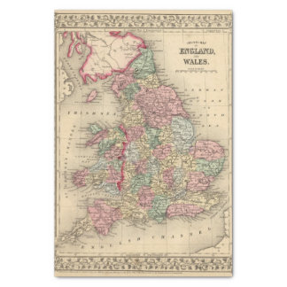 England, Wales Map by Mitchell Tissue Paper