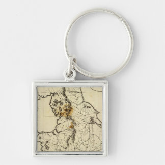 England, Wales outline Silver-Colored Square Key Ring