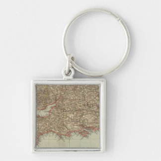 England, Wales S Silver-Colored Square Key Ring
