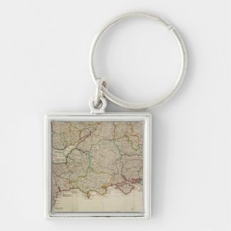 England, Wales, south Silver-Colored Square Key Ring