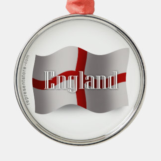 England Waving Flag Christmas Ornament