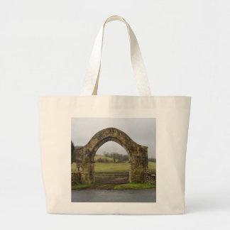 English Abbey gateway ruins Canvas Bags