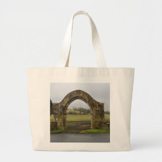 English Abbey gateway ruins Large Tote Bag