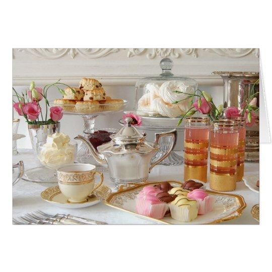 English Afternoon Tea, Scones, Fondant Fancies Card