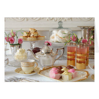 English Afternoon Tea, Scones, Fondant Fancies Greeting Card