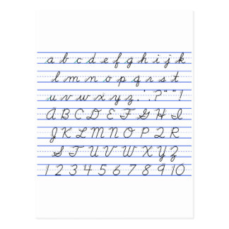 English Alphabet Diagram in Cursive Handwriting Postcard