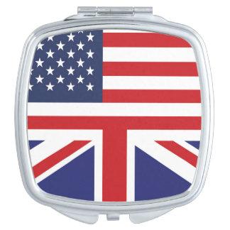 English American Flag 2 Makeup Mirror