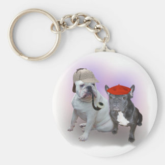 English and French bulldogs Basic Round Button Key Ring