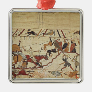 English and French soldiers Silver-Colored Square Decoration