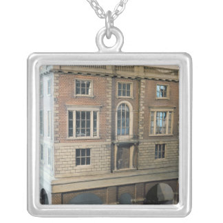 English balustraded doll's house with balcony silver plated necklace